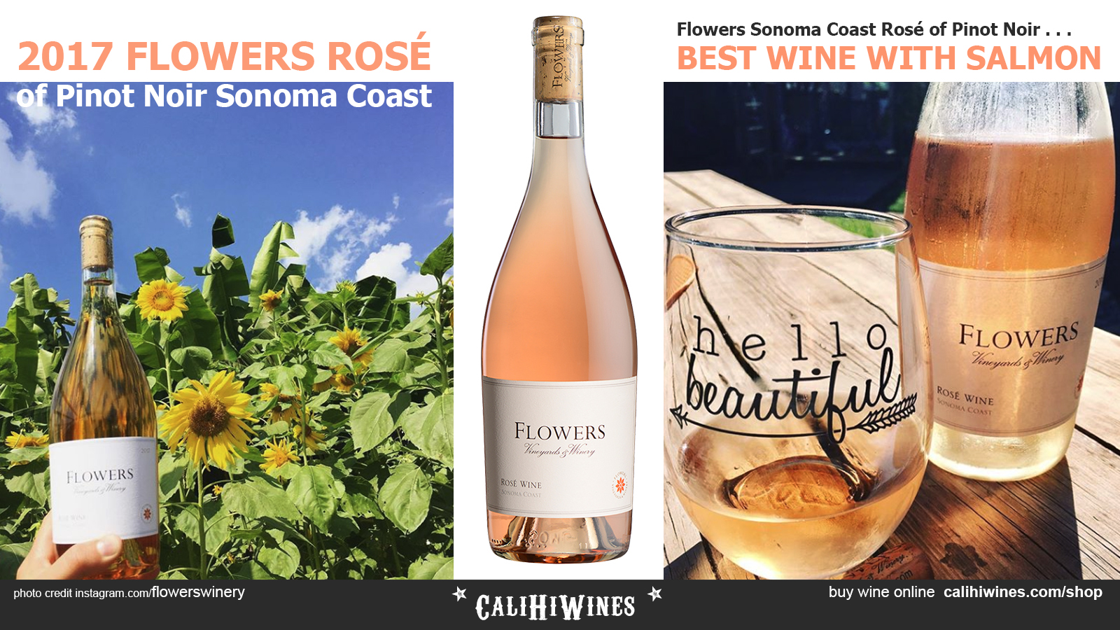 2017 FLOWERS Rose of Pinot Noir Sonoma Coast - Best Wine with Salmon