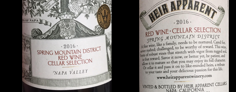 HEIR APPARENT 2016 RED WINE CELLAR SELECTION SPRING MOUNTAIN DISTRICT